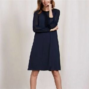 Boden Nerissa Sheer Long Sleeve Navy Blue Dress 4